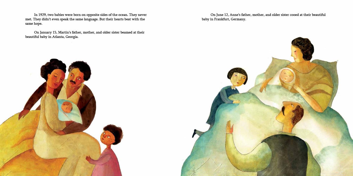 Interior spread from   Martin & Anne  , by Nancy Churnin, illustration by Yevgenia Nayberg