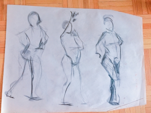 Examples of some of my student gesture drawings.