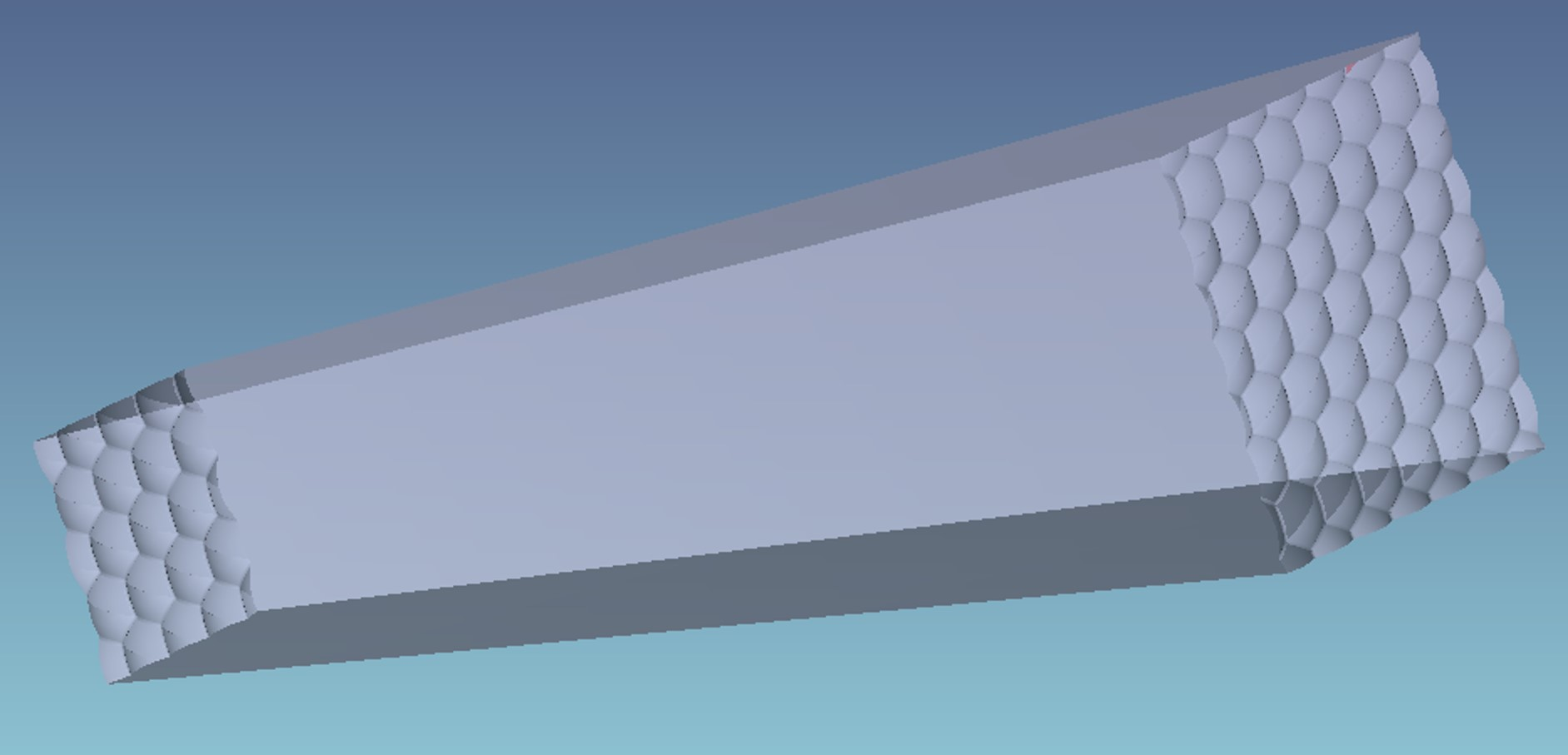 To increase efficiency we add some slope to the rod. Color mixed spots is improved