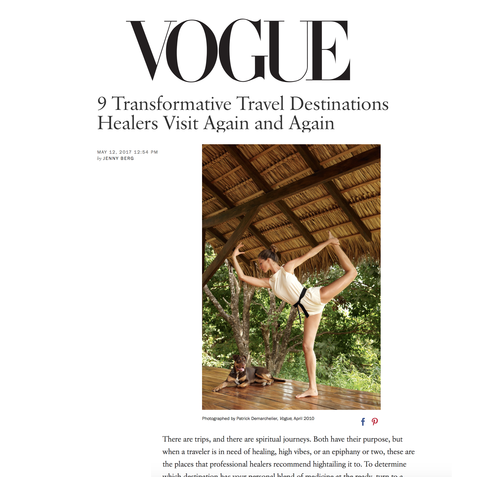 Vogue,   9 Transformative Travel Destinations Healers Visit Again and Again  , 2017