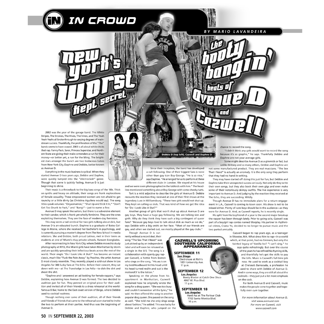 In Magazine (Print),  New York's Worst Kept Secret  by Perez Hilton, 2003
