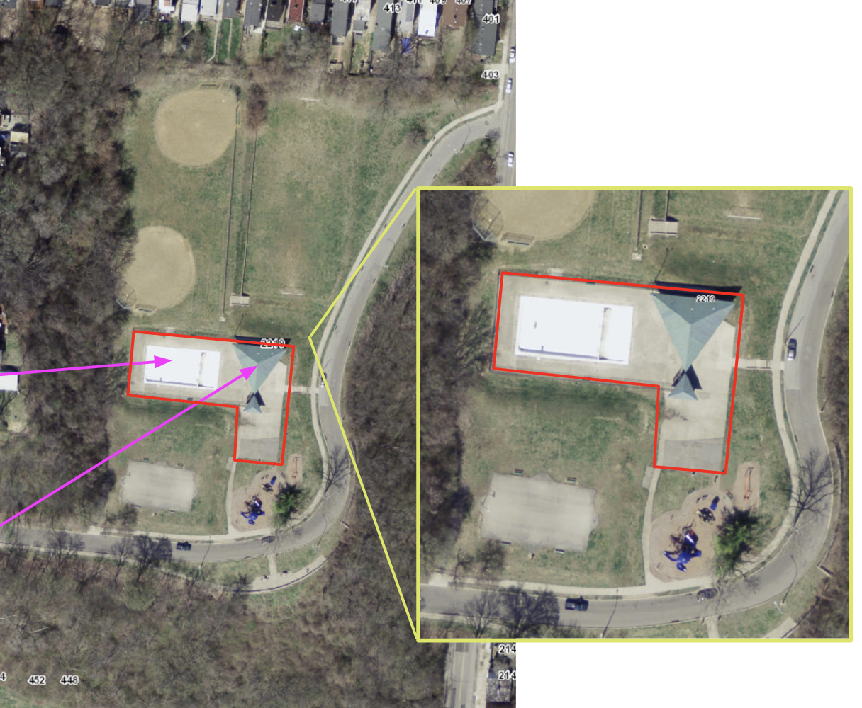 Pink arrows indicate the pool and shelter that have been removed.  Image from:  caigsonline.hamilton-co.org