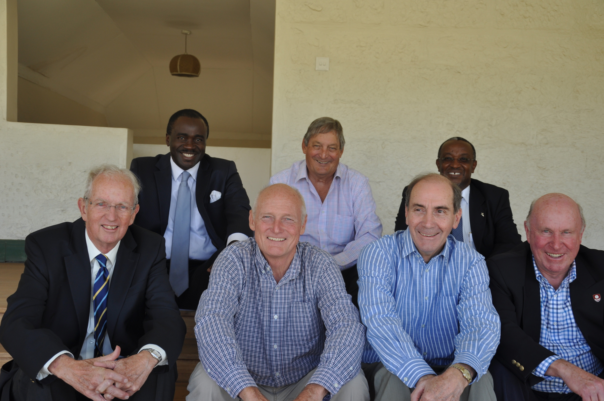 Prior to the meeting with the Headmaster, the Trustees of the Msaada Trust had met at the Nairobi Club to confirm their approach to the school. From the left; Gayling May, Chacha Odera, Ronnie Andrews. Jonny Havelock, Nigel Gaymer, Peter Gachuhi, John O'Grady. Dr Robin Mogere had also attended the meeting, but was called away to attend an emergency operation before this photograph was taken.