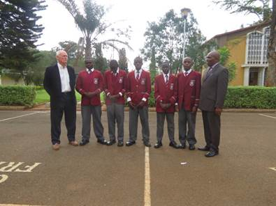 Ronnie with Mr. Boniface Ngure, old boy and member of the Laibon Society with the five recipients