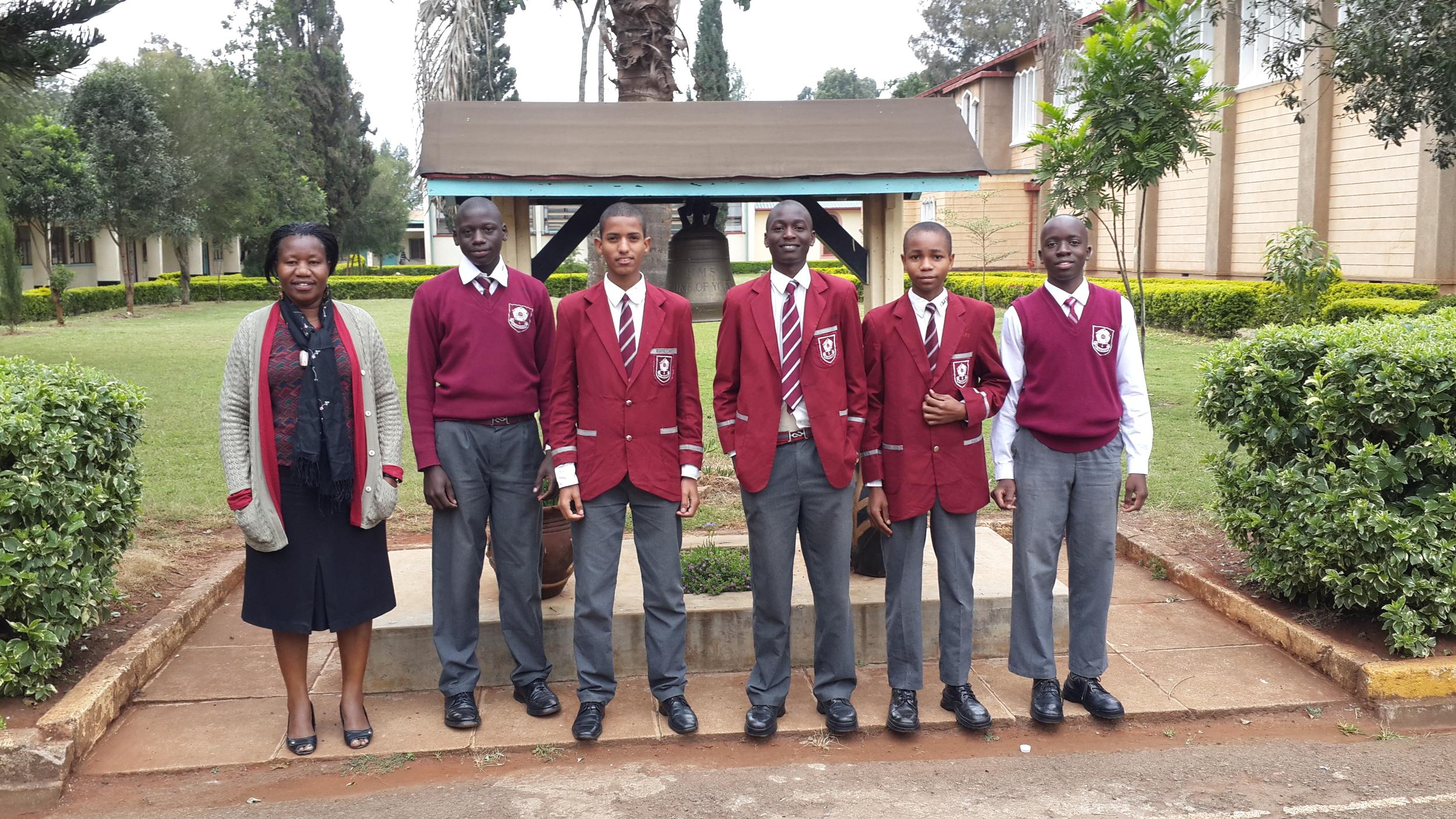 From the left; Mrs Kasambeli, Stephen Hayo, Abdulaziz Shemaka, Alex Magoba, Lennox Kahati and Aswa Philip Katiechi.