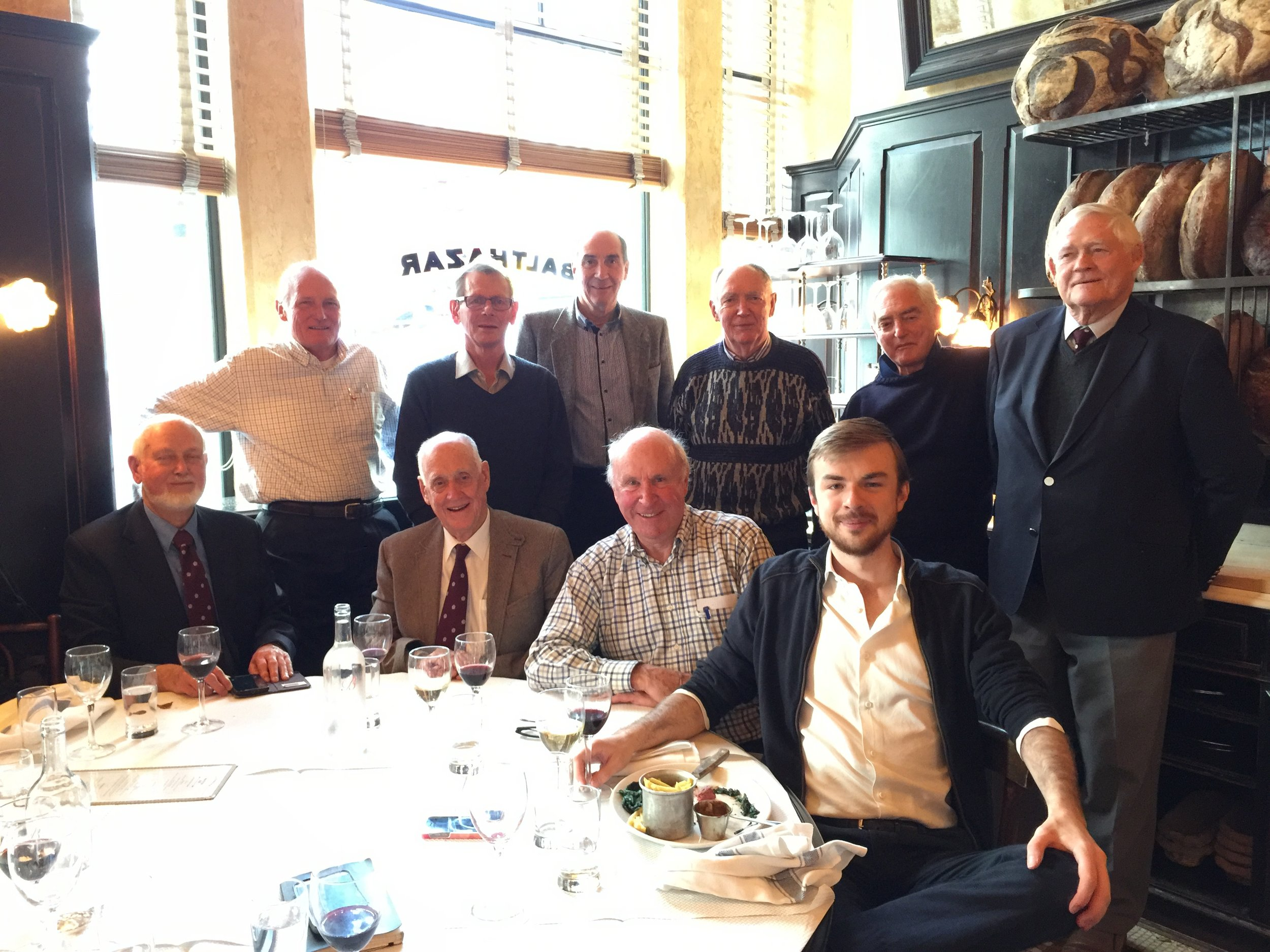 Gathering in Covent Garden, London  Back row l to r: Ronnie Andrews, Carey Keates, Nigel Gaymer, John Crosher, Ron Atkinson, Mike Andrews Front row l to r: Robin Crosher, Brian Brent, John O'Grady and Alex O'Grady (son of John)