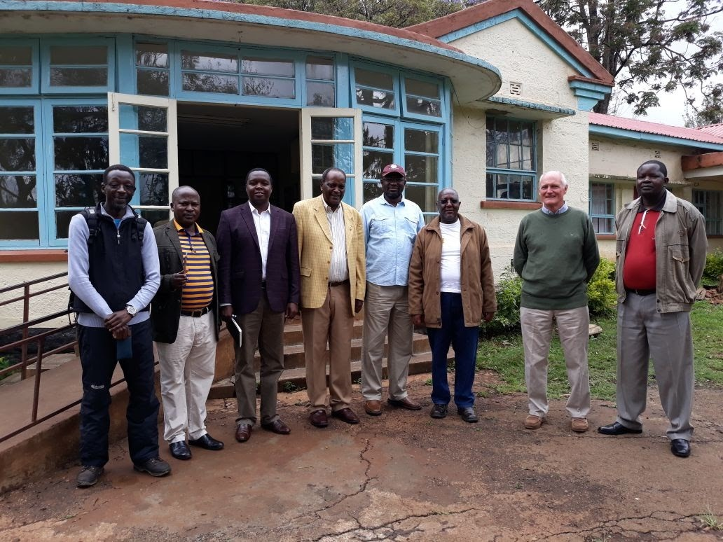The San working group including several Old Boy medical practitioners with the Principal William Kemei 3rd from left and Samson Ndegwa, the Chairman of the Board of Management 4th from left