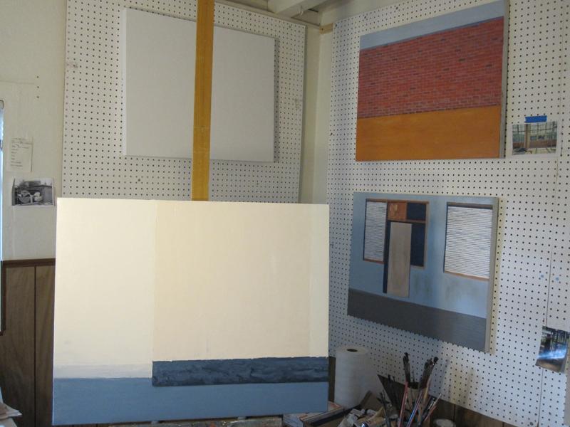 In-progress paintings