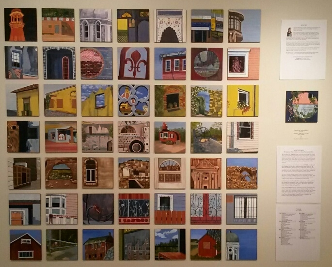 "My  50|50 tiles . My theme is ""Windows - observations on place by an outsider."" I used my own photos from my travels around the globe to create this series of paintings, from Pakistan to New Orleans.   All of these are available for $55 each. 10% off if you buy 2 or more. Interested?  Contact me  for sale information.    Note:  there are over 60 other artists exhibiting their 50 works as well. Come check it out!"