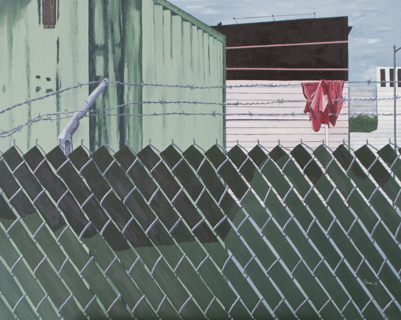 "C. Rasmussen,  Over , 2015. 24""x30"", oil on canvas, $875."