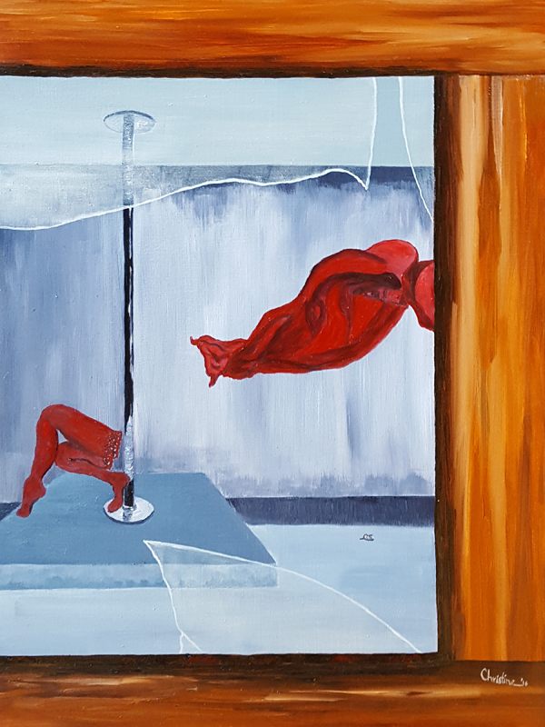 "C. Rasmussen,  Peeping Tom , 2016 | $193 |12""x9"" |Oil on wood panel."