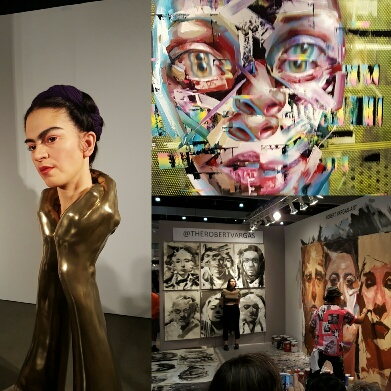 Sculpture by Kazuhiro Tsuji (left), painting by Justin Bower (top right) and live painting by street artist Robert Vargas (bottom right).