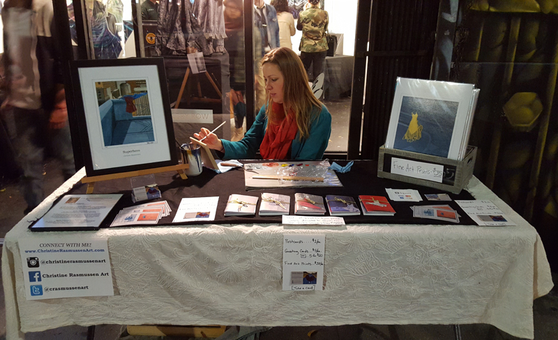 Pictured: my setup from March 2016 DTLA Artwalk. Photo credit: Adi Marie.