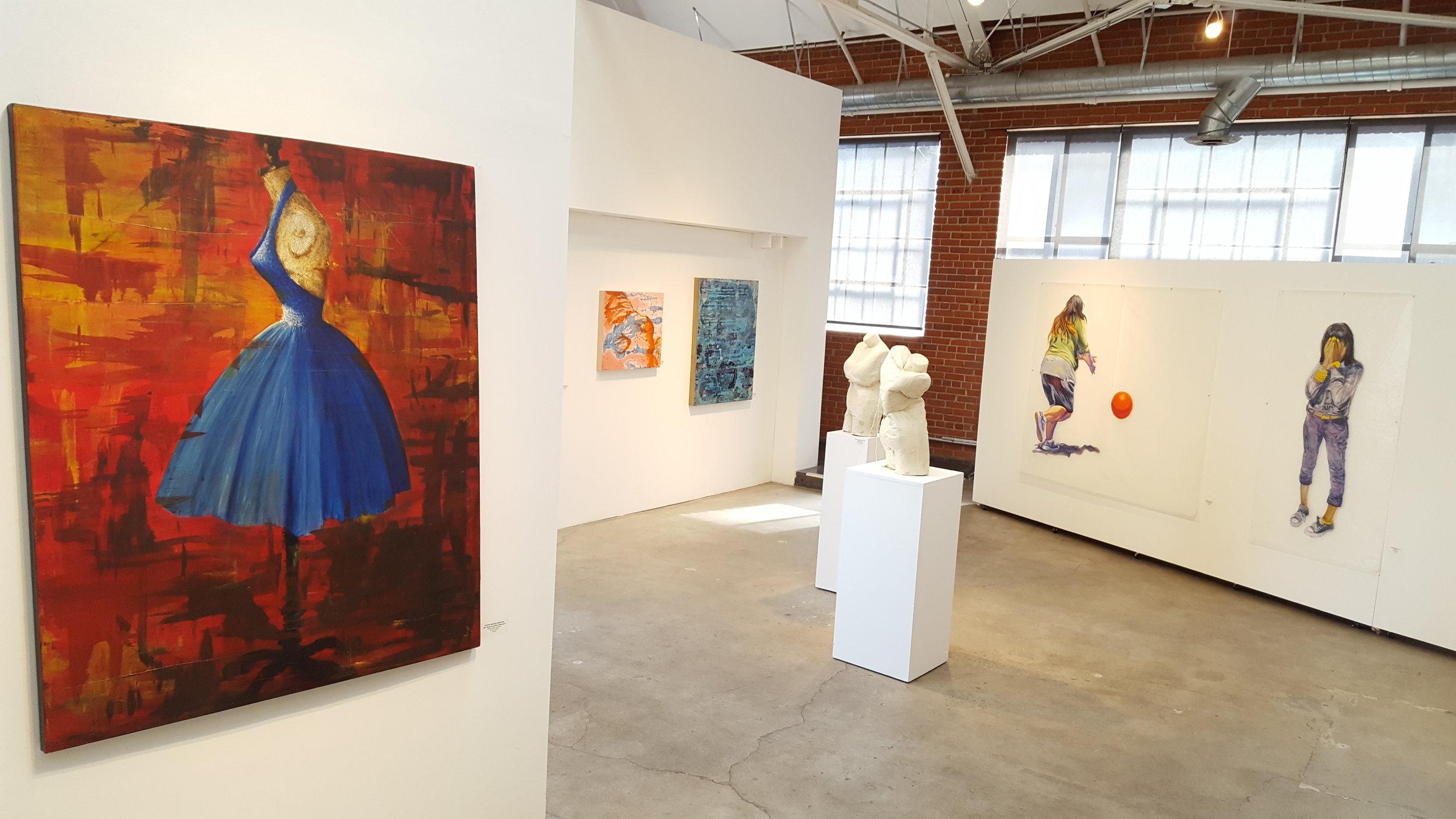Artwork from left to right: Dawn Marie Forsyth (plus sculptures), Marlene Struss & Deborah Decker. |  Photo credit: C. Rasmussen.