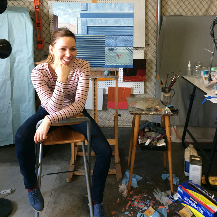 Christine Rasmussen in her studio.  Photo credit: Zeba Rasmussen .