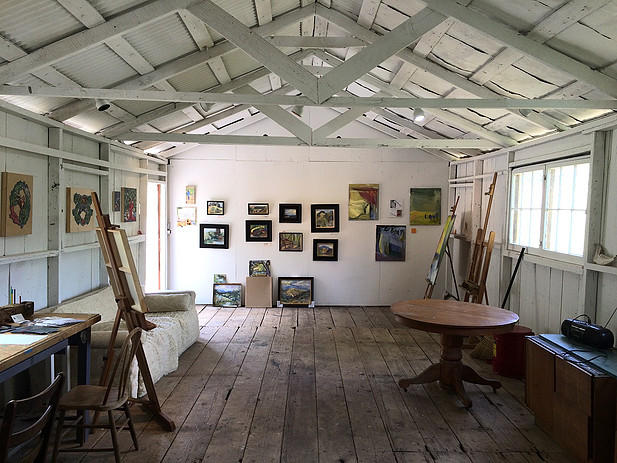Studio in the converted barn at Chalk Hill.