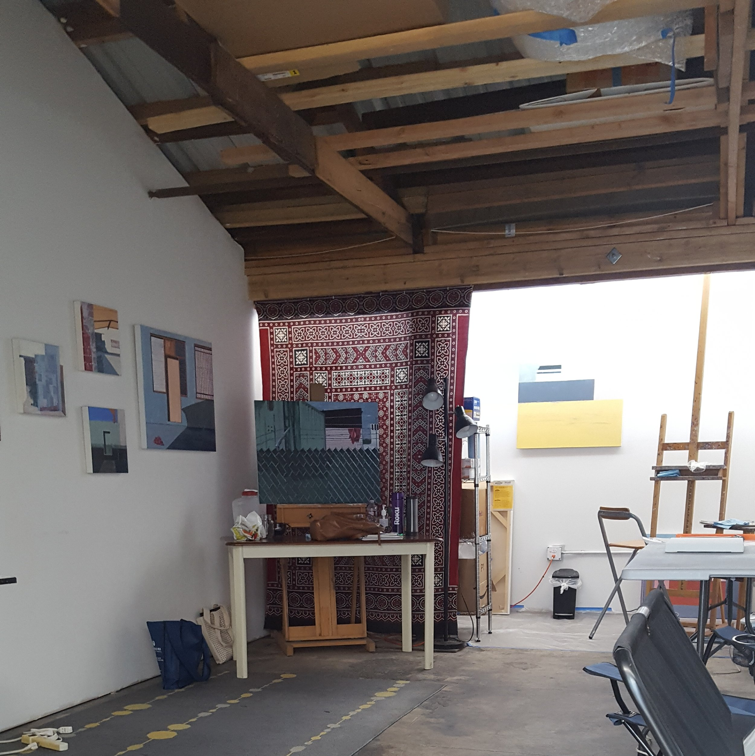 View into my studio, which is long and narrow.  Photo credit: C. Rasmussen.