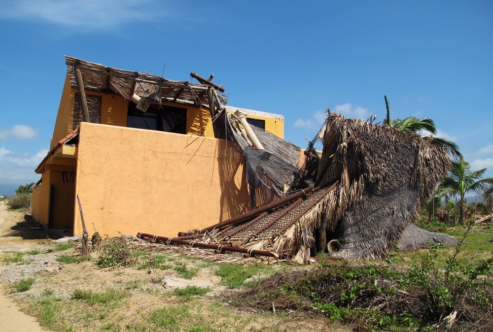 A palapa that did not fare well near the beach in Elias Calles.