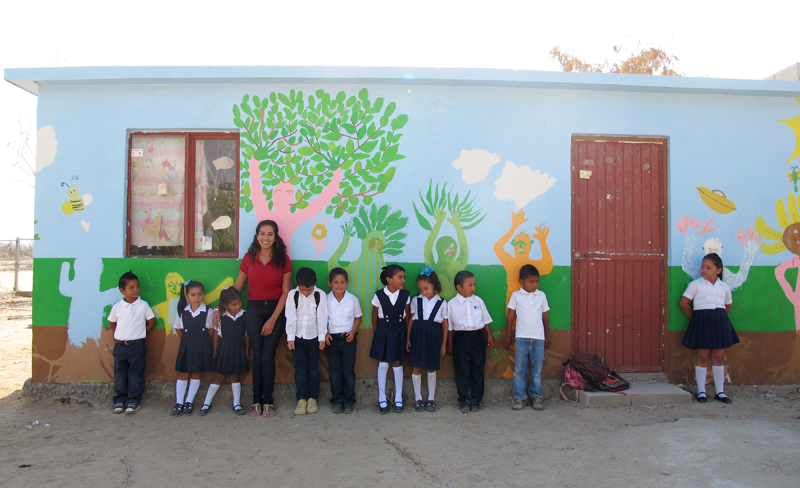 Tadeo, Itzel, Jocelyn, Vanessa (La Maestra), Emilio, Marcito, Haide, Maria Jose, Antonio, Angel y Gralya in front of the mural project I did with the kids all year. Vanessa and I finished the mural the day after and added their names.