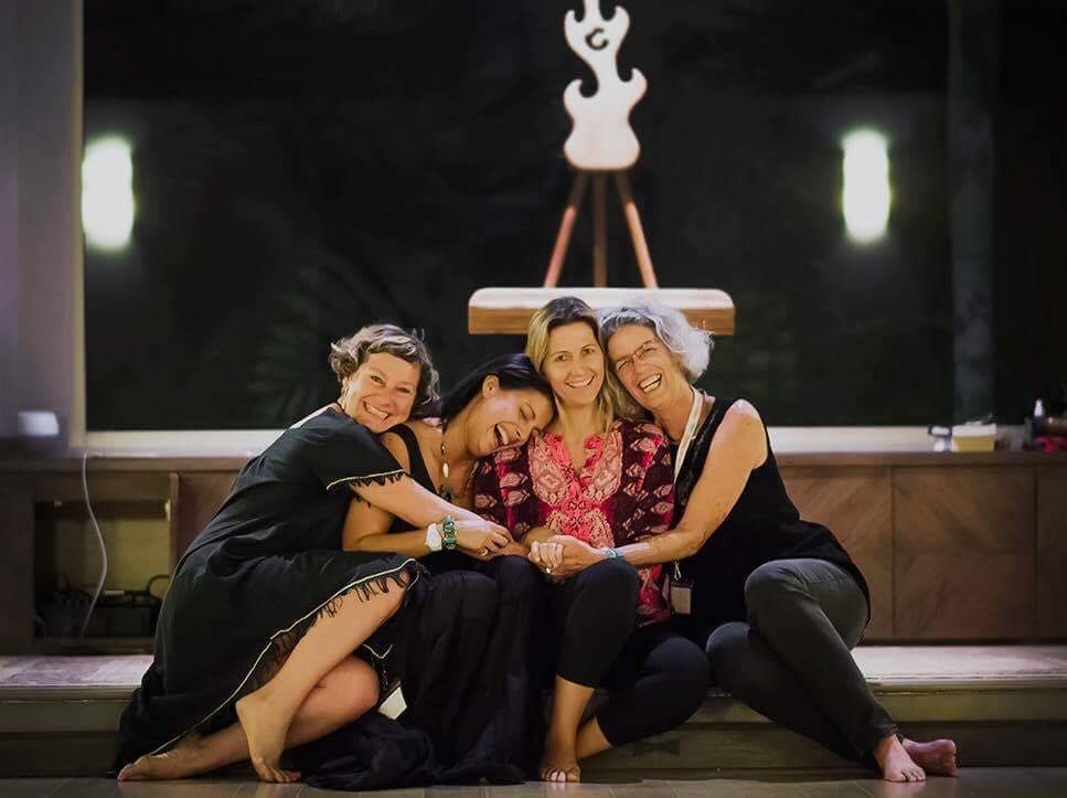A celebratory moment at the end of Women Awakening with a few of the other co-creators: Angelica Robinson, Marimar Higgins and Jill Mullenhauer