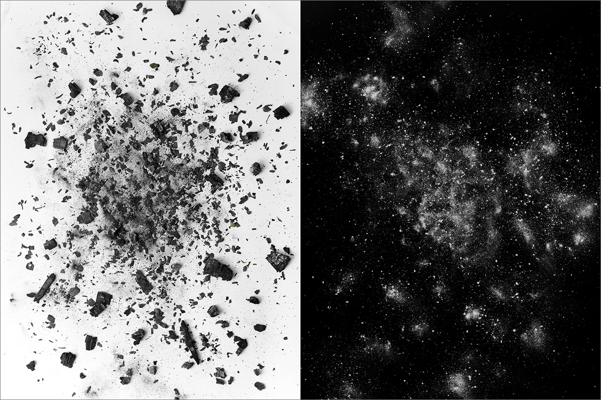 debris site #5  , diptych, 2012 each image is 52 x 40 inches archival pigment print  © Brent Wahl   remains of a burned down school, West Philadelphia
