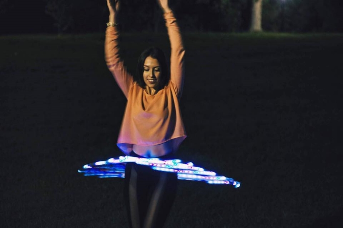 Hula-Hooping at Francis Lewis Park in Queens, NY.