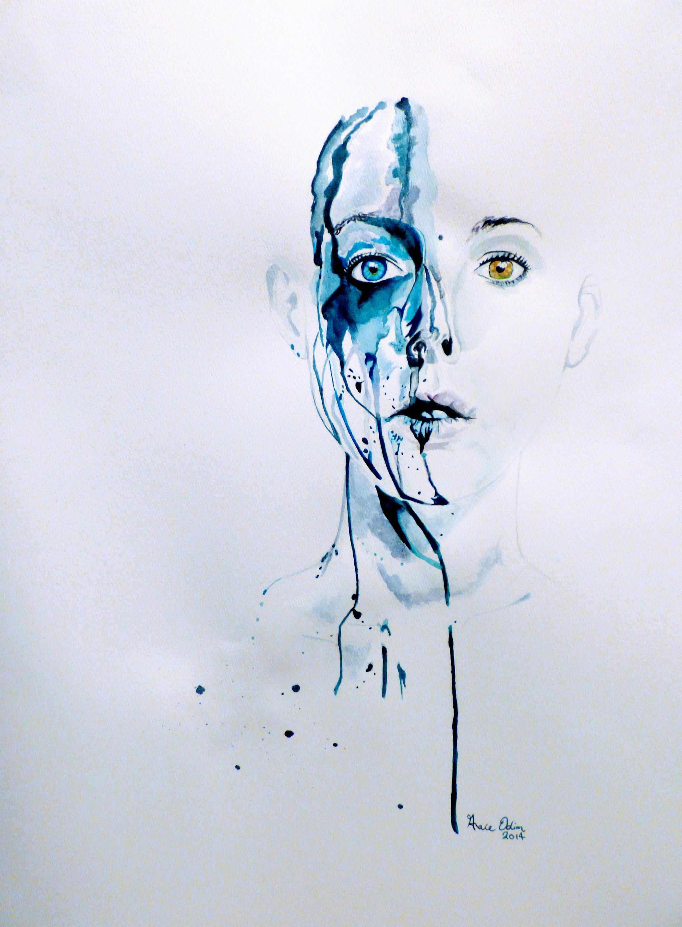 """Runny mascara"", watercolor"