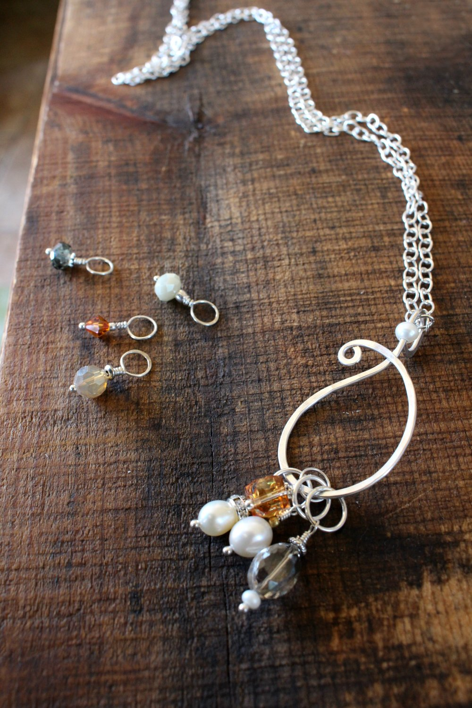 Knitting Stitch Markers\u2014Silver tone w bracelet or necklace option