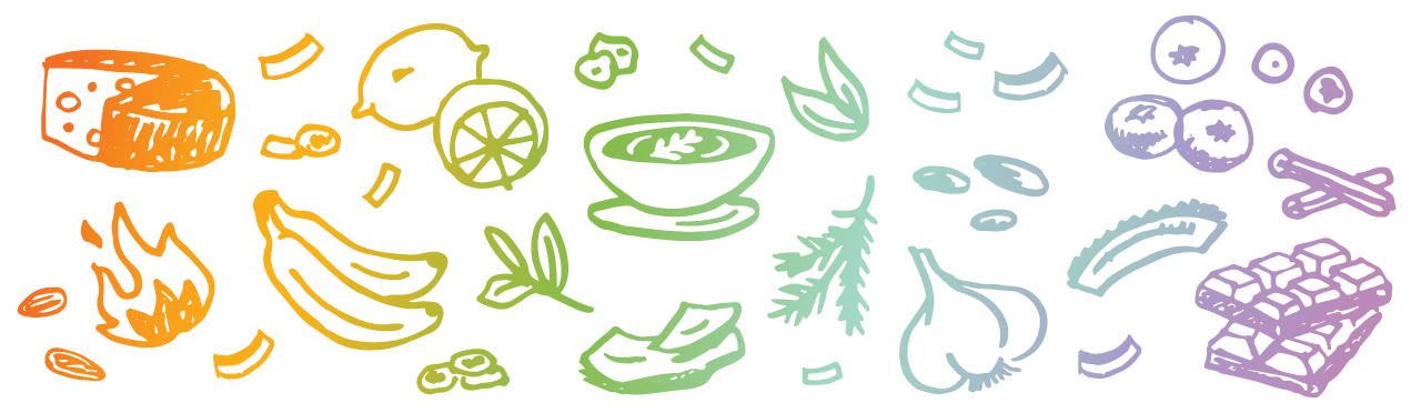 Rawcology plant-based hand drawn food icons by Kat Marshello