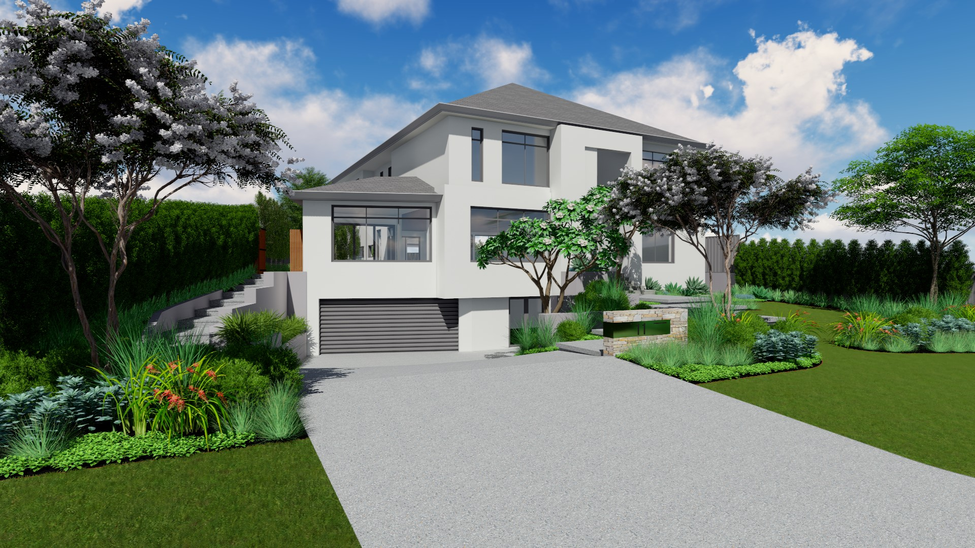 A 3D visualisation for the front landscaping