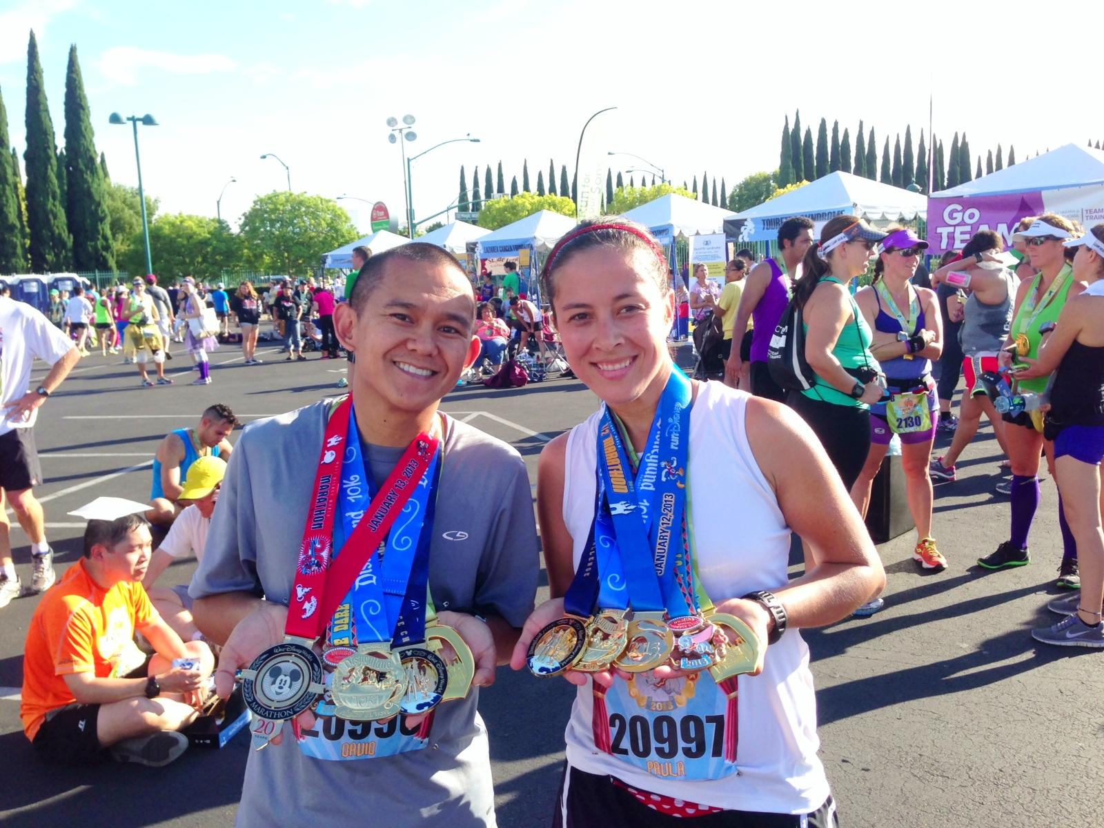 5 medals each: WDW Marathon Weekend, Dumbo Double Dare, Disneyland 10k, Disneyland Half and Coast to Coast.