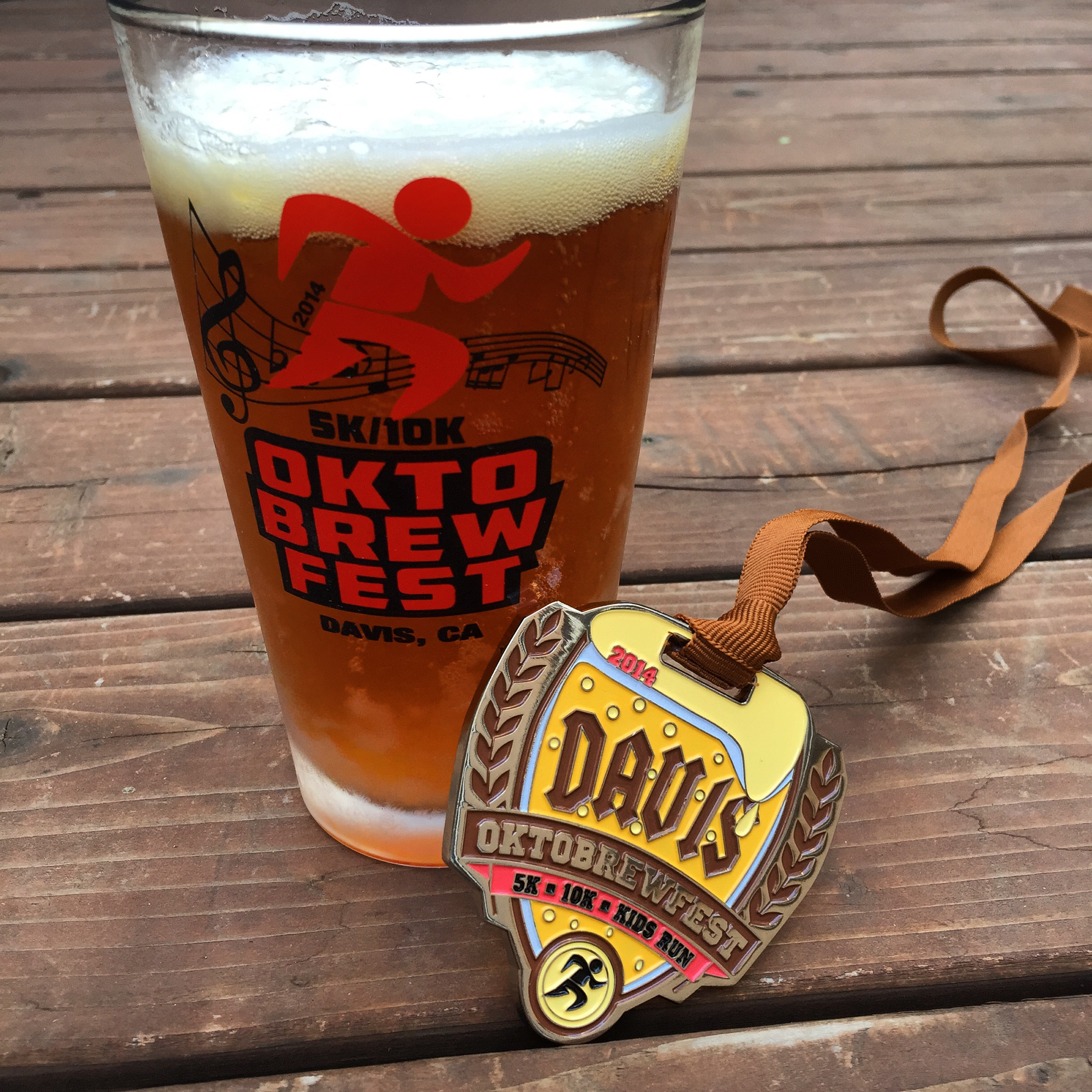 Bottle opener finisher's medal and award winner pint glass