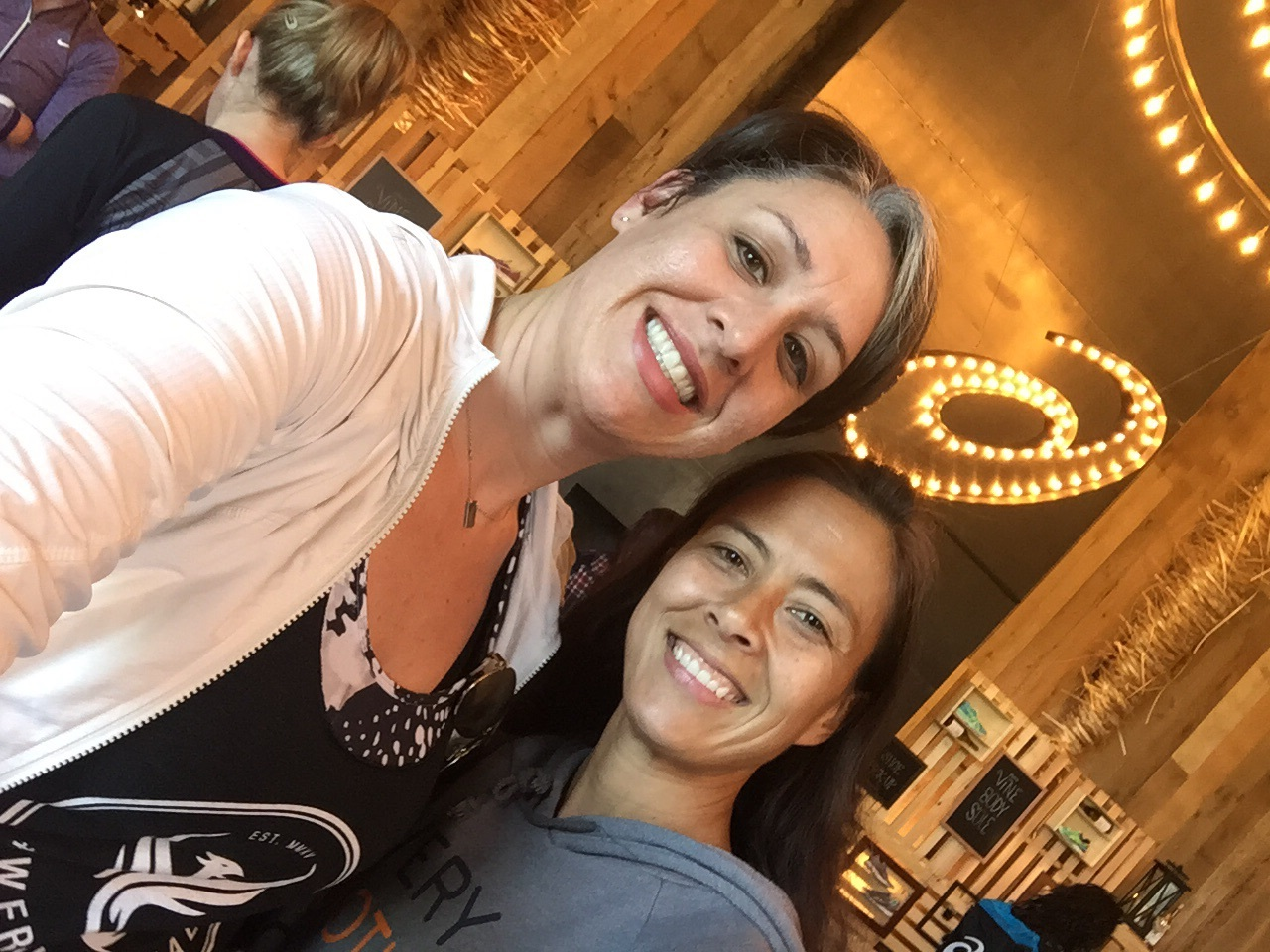 Love this woman! Always keeps it real and is just wonderful. Photo: Andrea Hall Perks of having a tall friend, appropriate angled selfie.