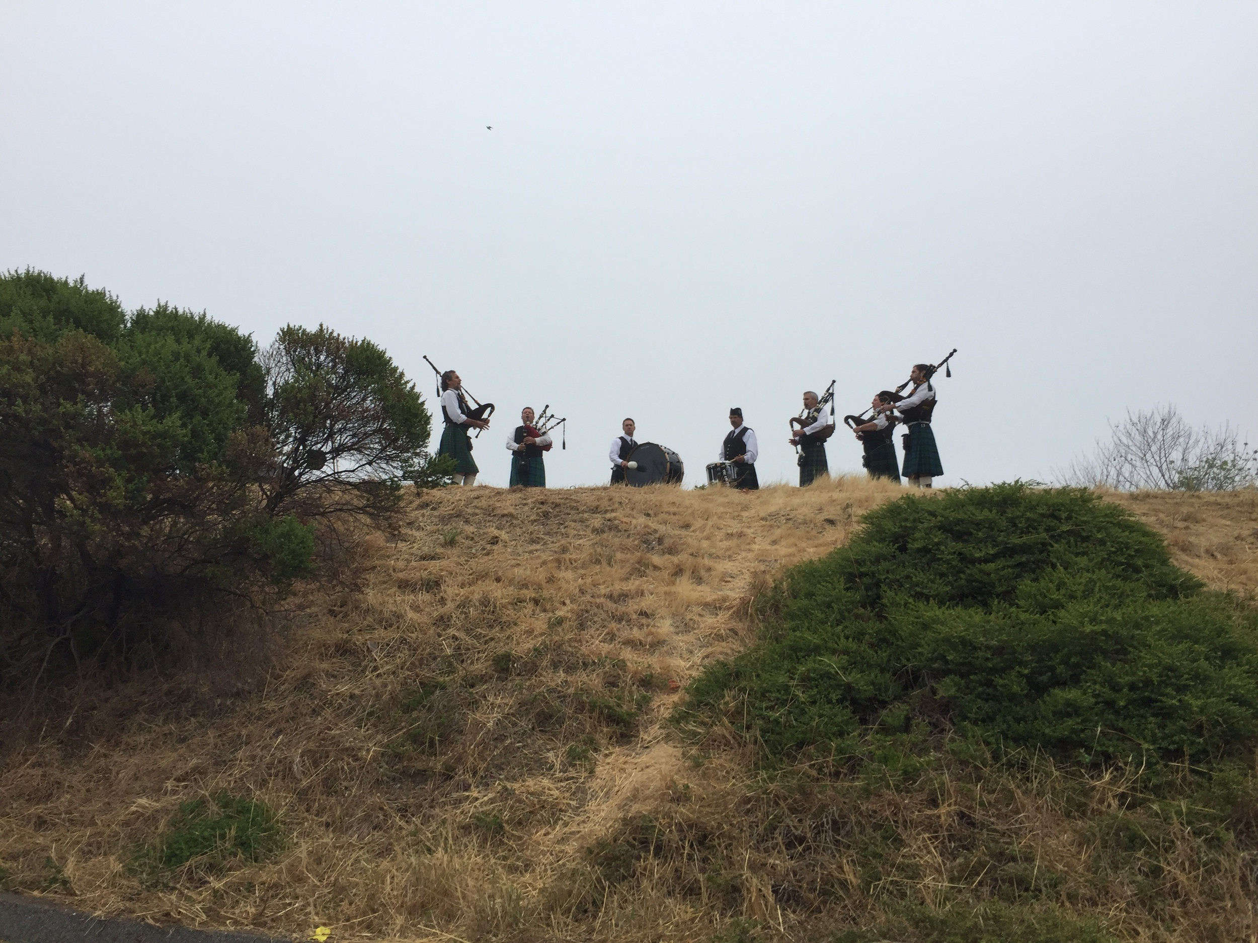 Mile 1 - bagpipers