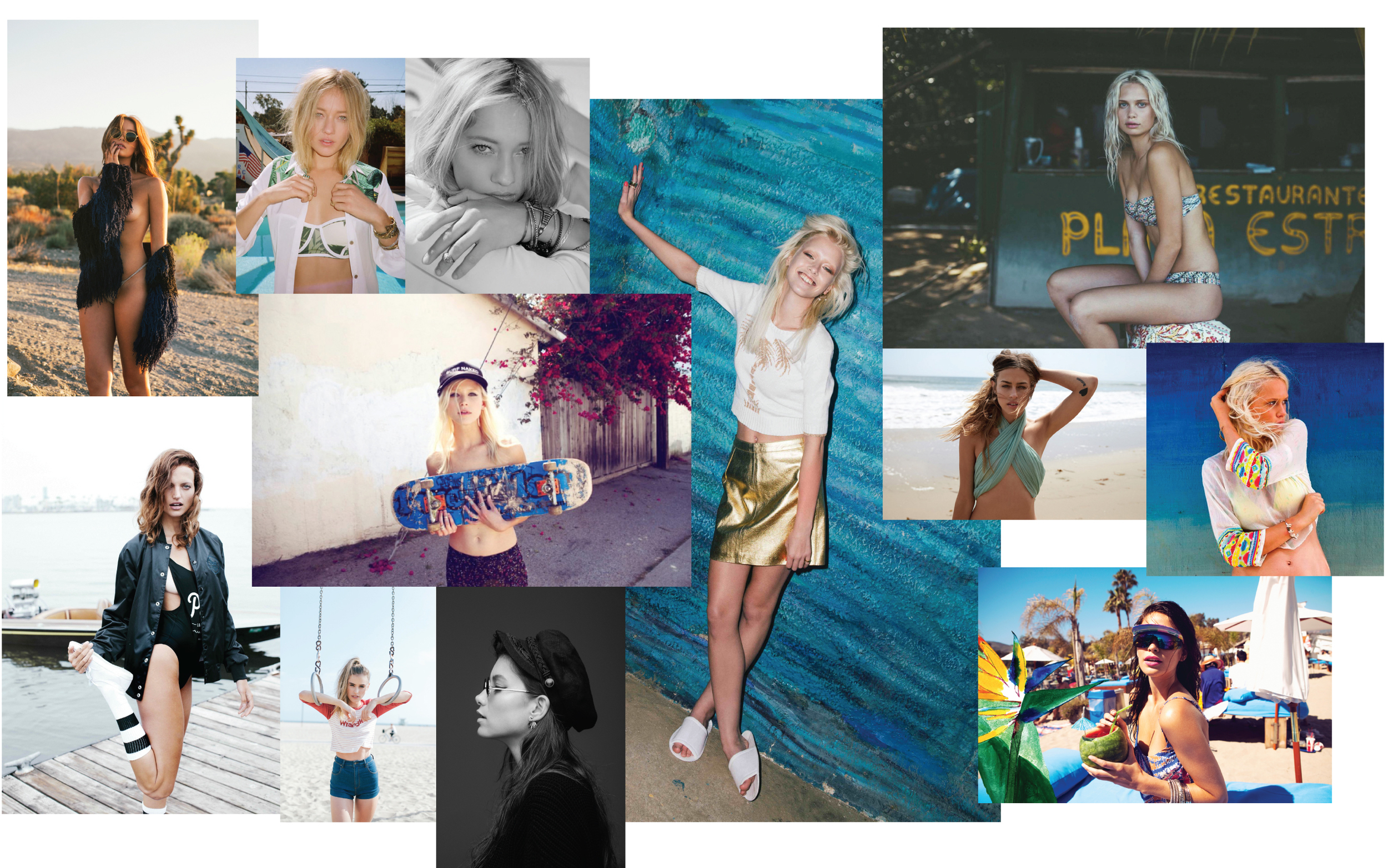 Examples of Sarah's Styling Work with Wrangler, Planet Blue, For Love and Lemons, Nasty Gal, Billabong, Jason Lee Parry, Pierre Toussaint, Amanda Booth, Zoe Grossman, Cailin Russo, Lilah Parillo to name a few.