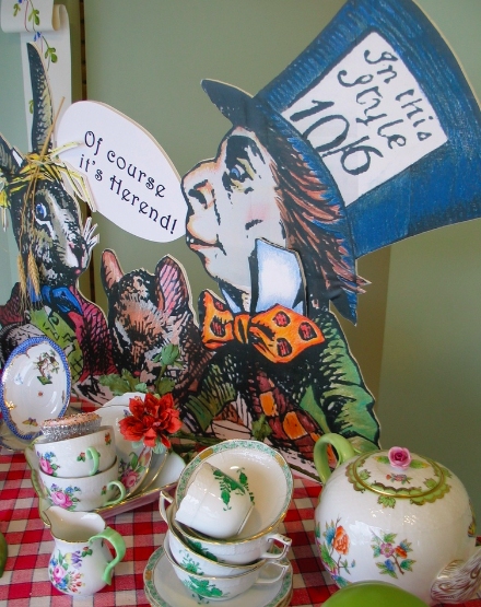 """Summer Window """"The Mad Hatter's Tea Party"""" with assortment of tea cups in  Queen Victoria,   Rothschild Bird Blue Border ,  Printemps  and  Chinese Bouquet in Green"""
