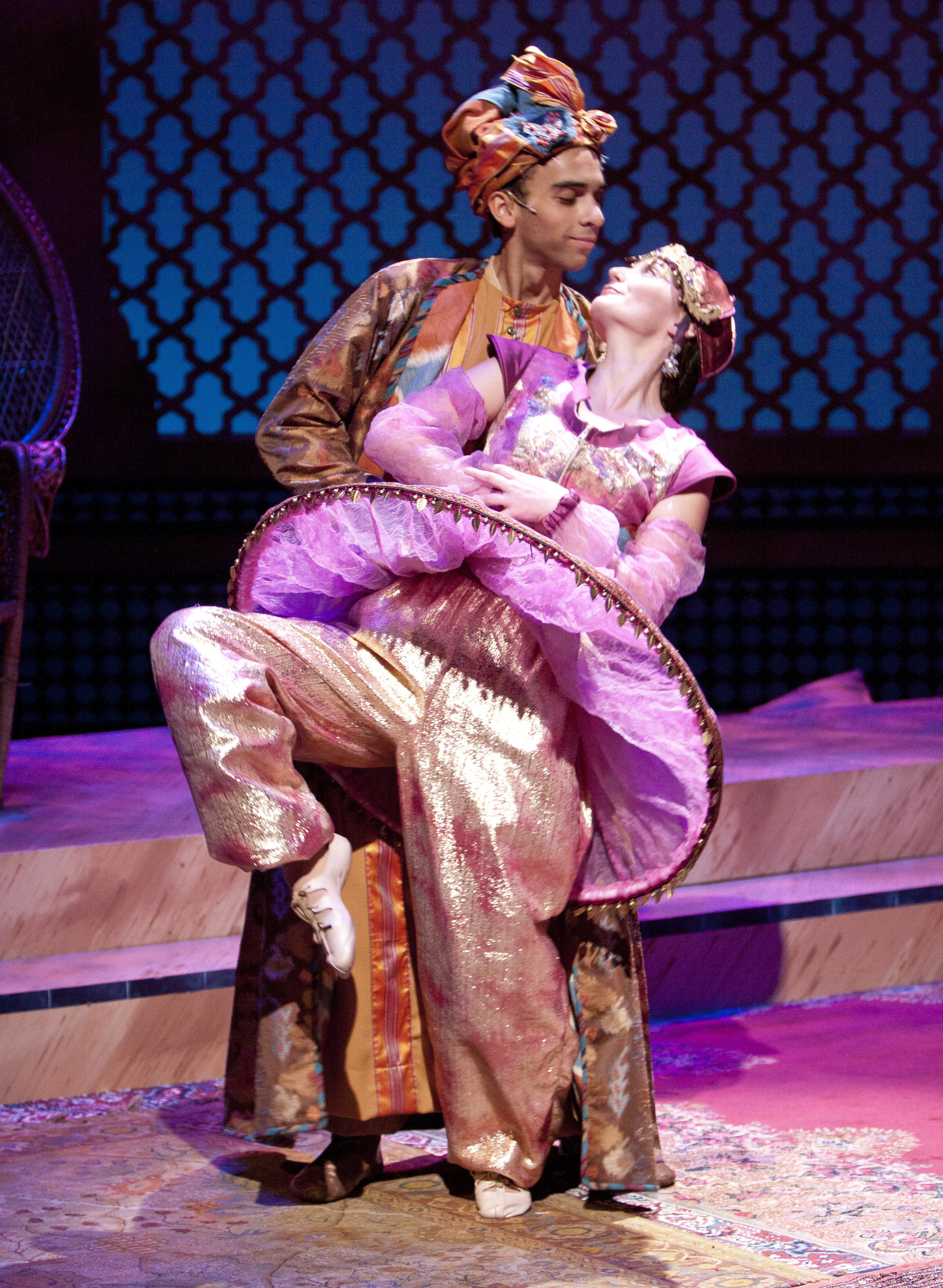 """Aladdin's Luck - """"Costumer Katie Touart wows the audience by dressing her actors in colorful prints and patterns, using shawls, head wraps and delightful accessories to make the characters come alive.""""-MD Theatre Guide"""