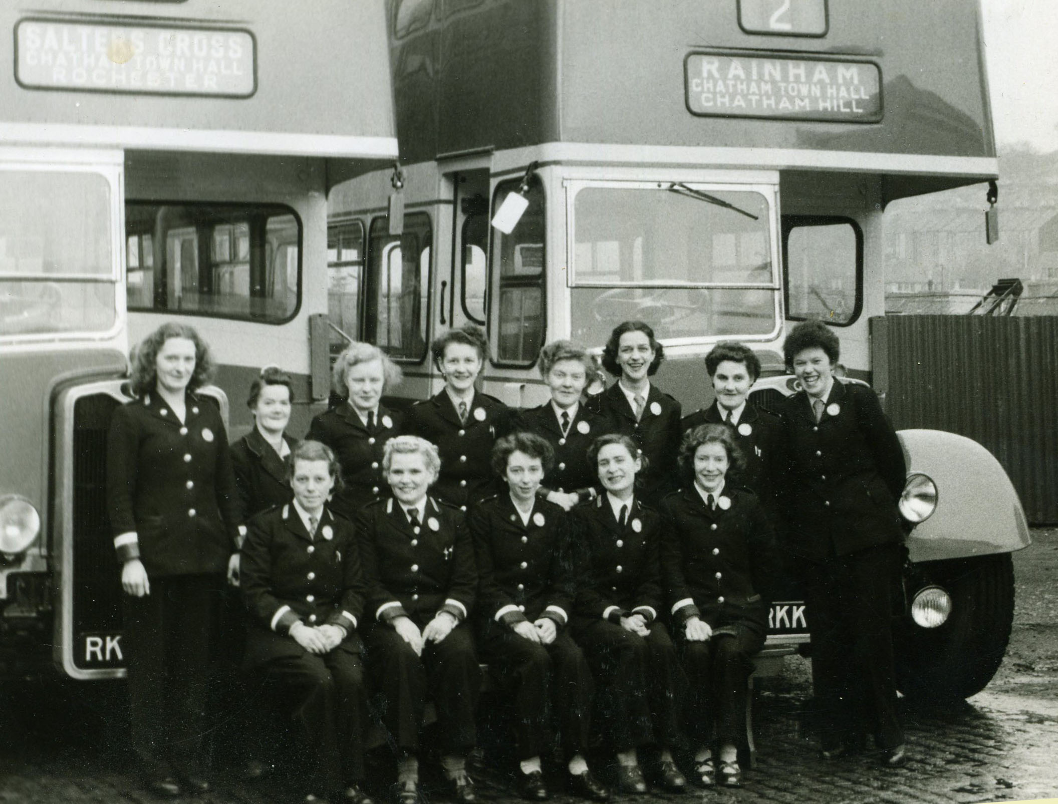 Luton conductresses line up in front of their new charges at Luton depot in late 1953.  The eight RKK-registered Guy buses were delivered in November of that year..