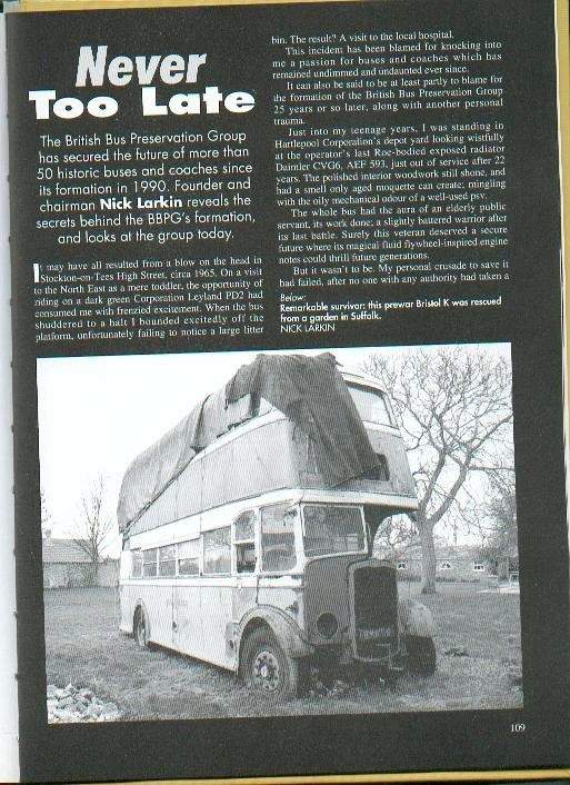 The accompanying photograph showed the bus during its sojourn in Suffolk.