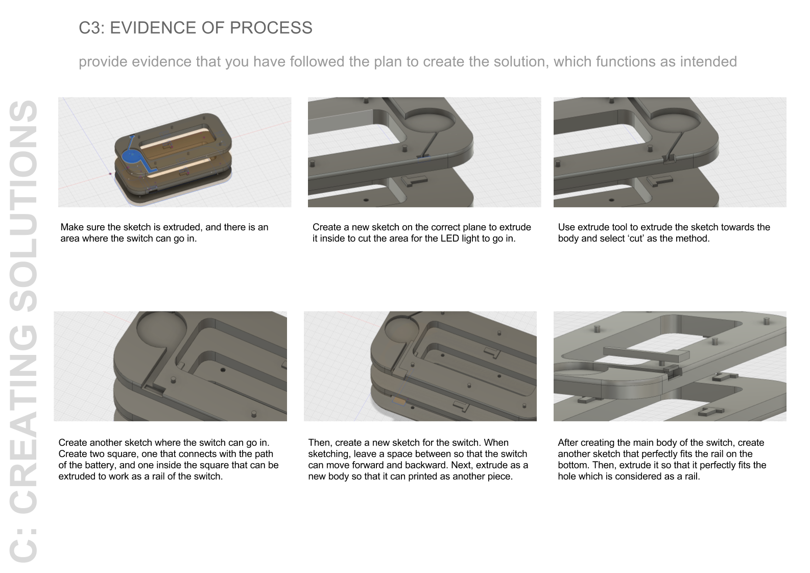 Steps in the 3D design process using Autodesk Fusion 360