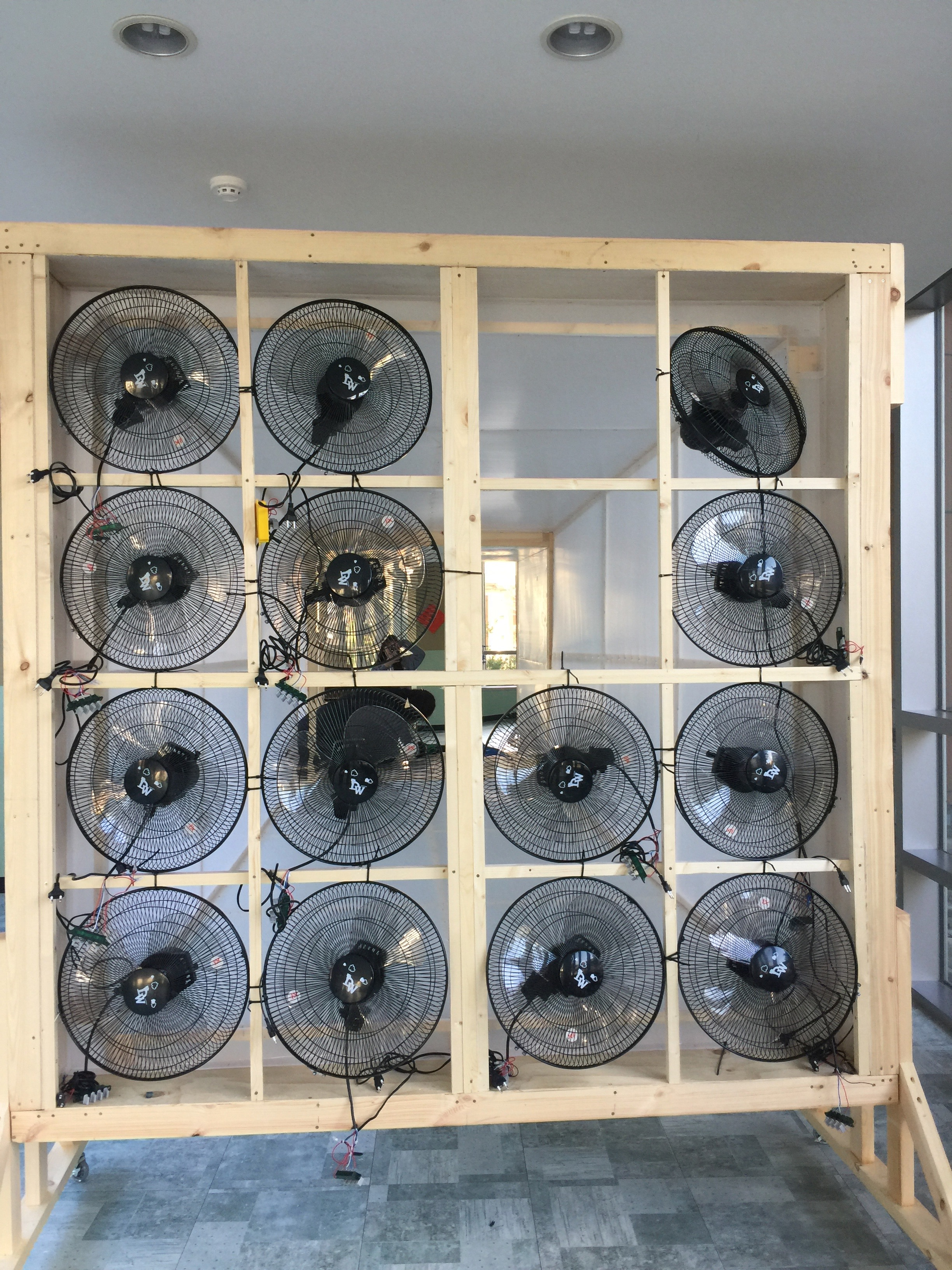 almost all the fans mounted and ready to go--just need their power boxes connected