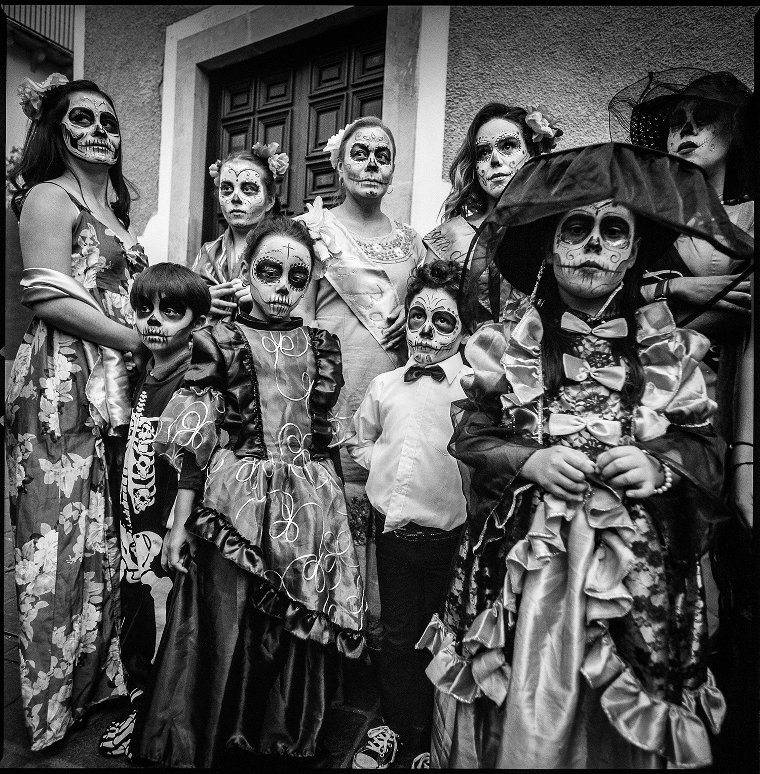 People waiting to join Day of the Dead parade Guanajuato, Mexico 2018