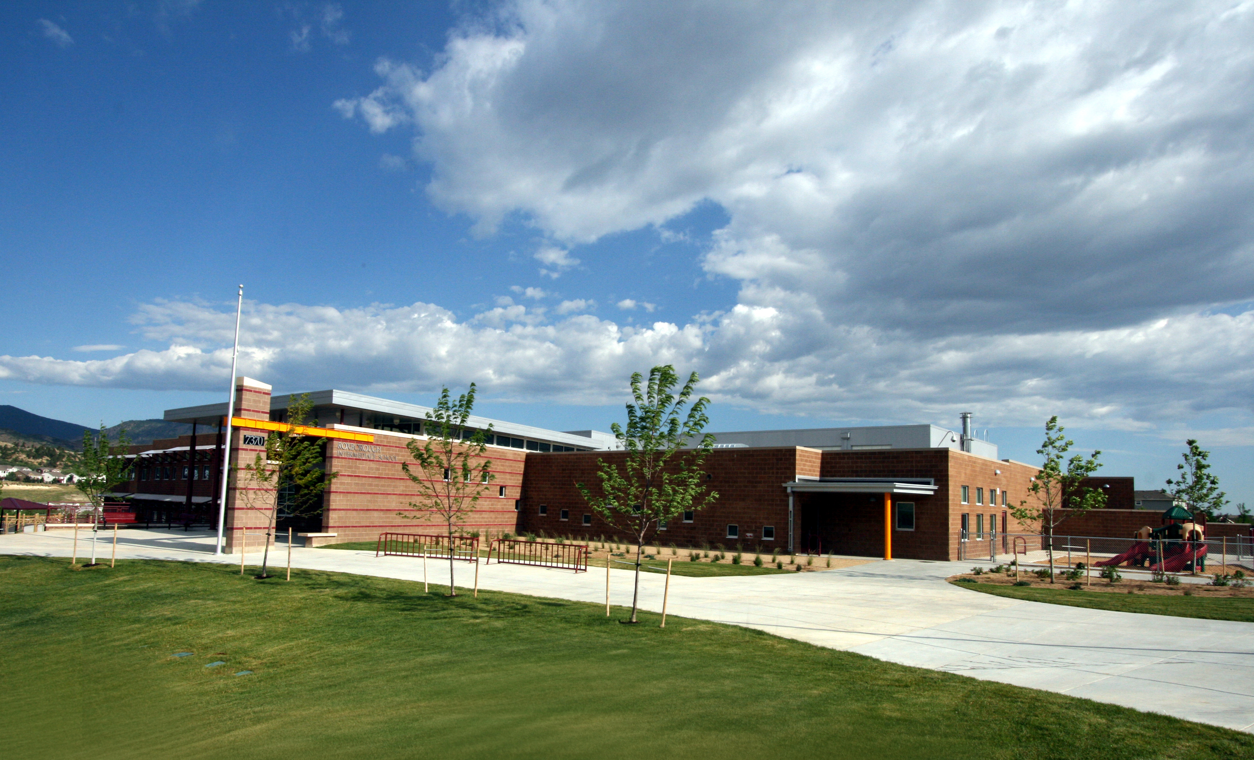 ROXBOROUGH INTERMEDIATE SCHOOL -  A new 66,864 SF, 2-story elementary school with crawlspace/basement. This project incorporated sustainable building elements such as motion-sensor faucets, high efficiency HVAC equipment, exterior solar shading and construction waste recycling.