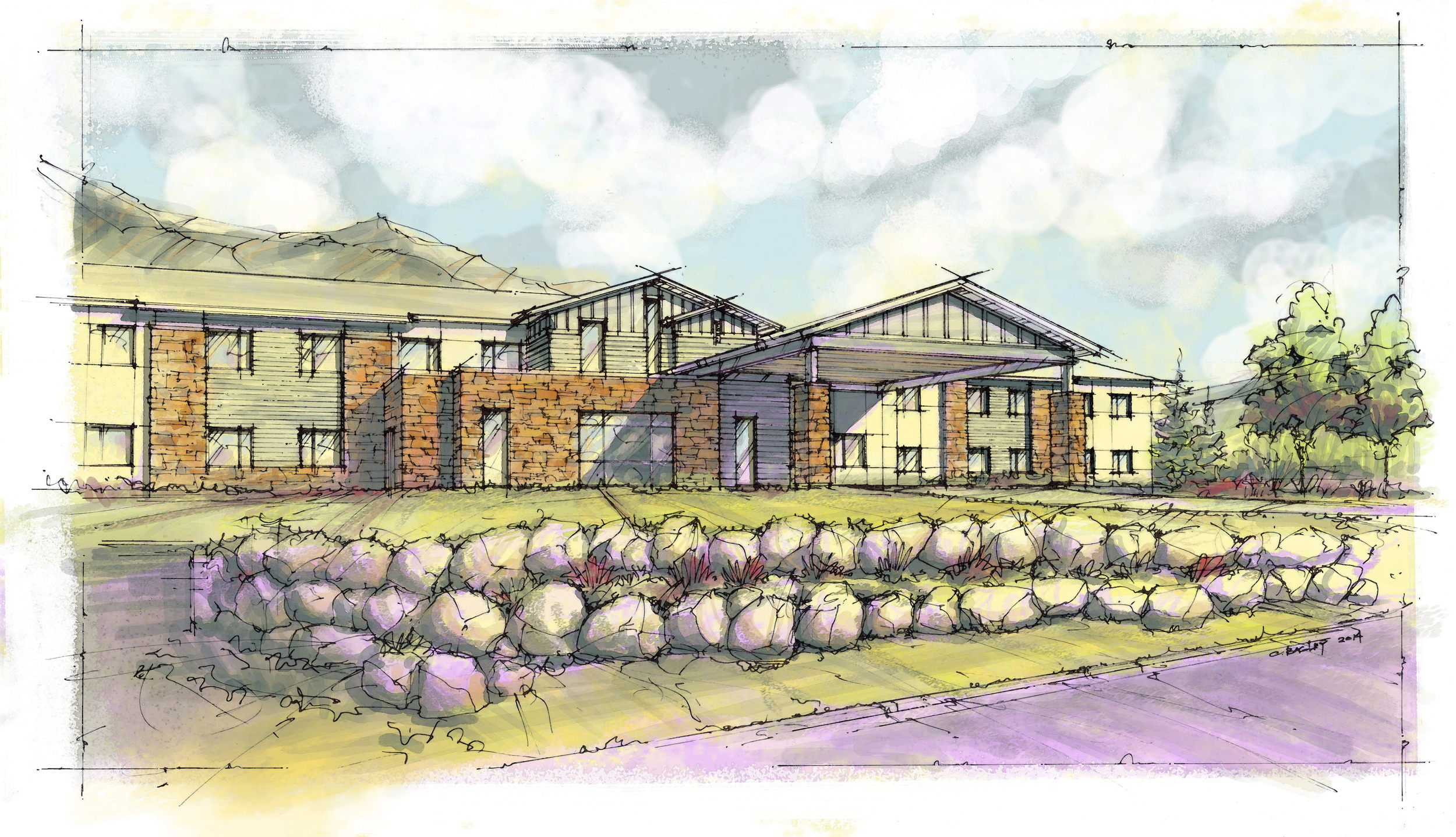 FOREST RIDGE SENIOR LIVING CENTER -  New construction of a 2-story, 49,000 SF senior living center with 80 private rooms. There is an occupied medical center located on the project site in an adjacent building.