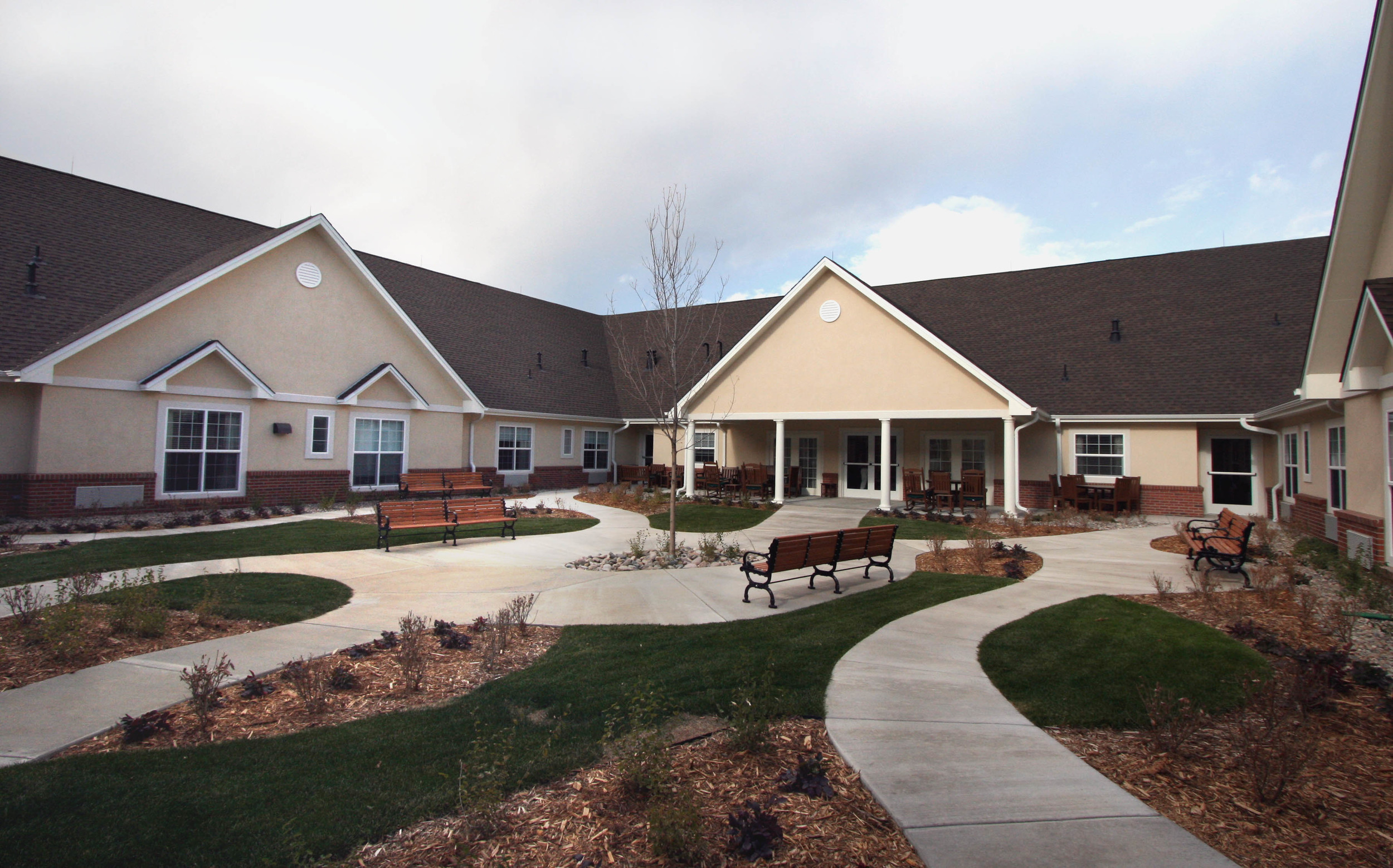 LOYALTON AT THE BROADMOOR-  21,442 SF addition to existing occupied assisted living facility. Building Type VA, wood framed construction. Exterior finishes include brick, stone and stucco.