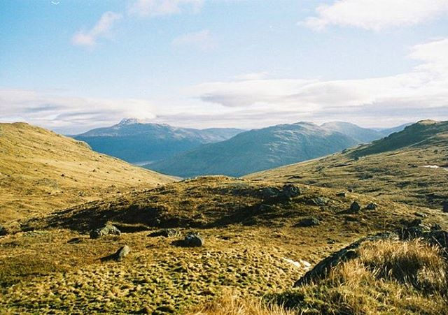 'The perfect place for lunch'  I love climbing The Cobbler. The ever changing views across the Arrochar Alps in Scotland gives me great perspective. It definitely puts me in my place on this earth.  35mm photograph taken with my Pentax ME Super.