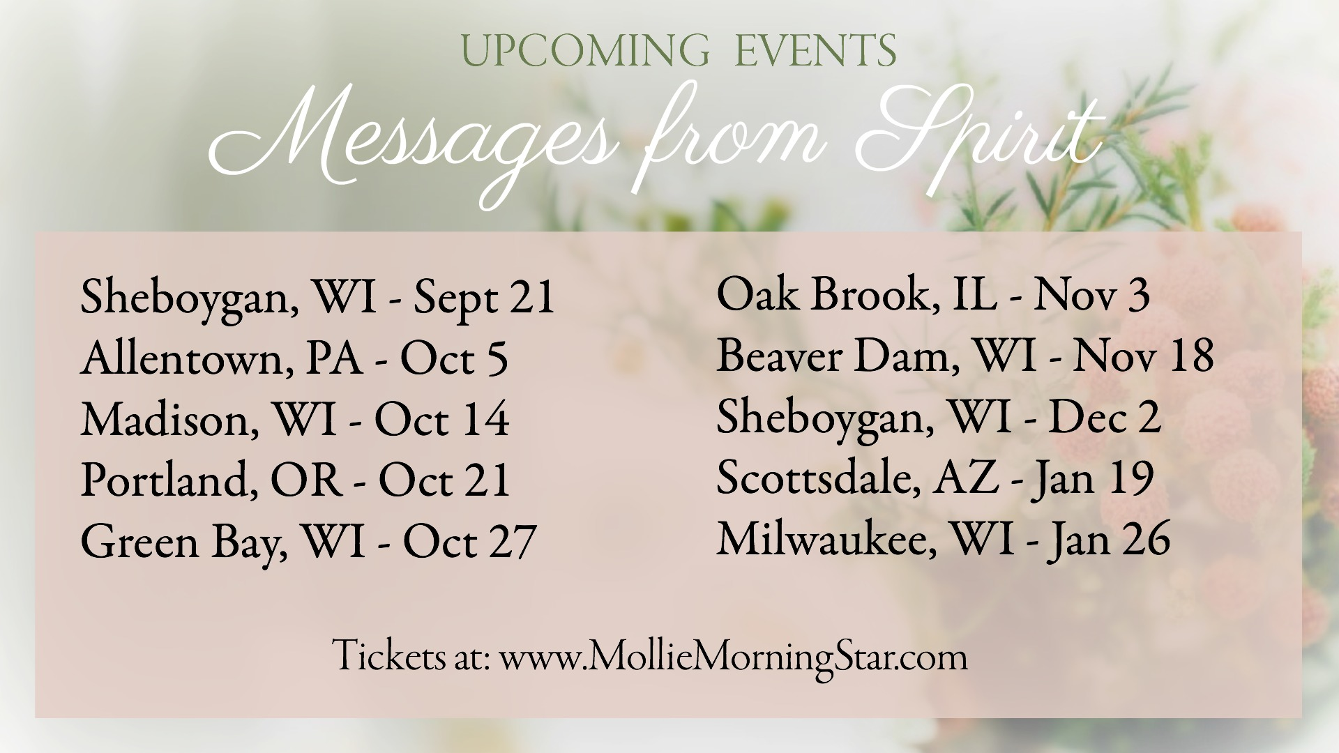 Live Events - Psychic Medium Wisconsin - Connecting to Spirit Readings