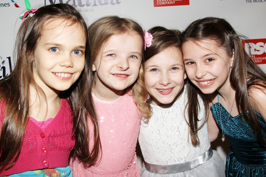 Oona, Milly, Sophia, and Bailey at Opening Night for Matilda