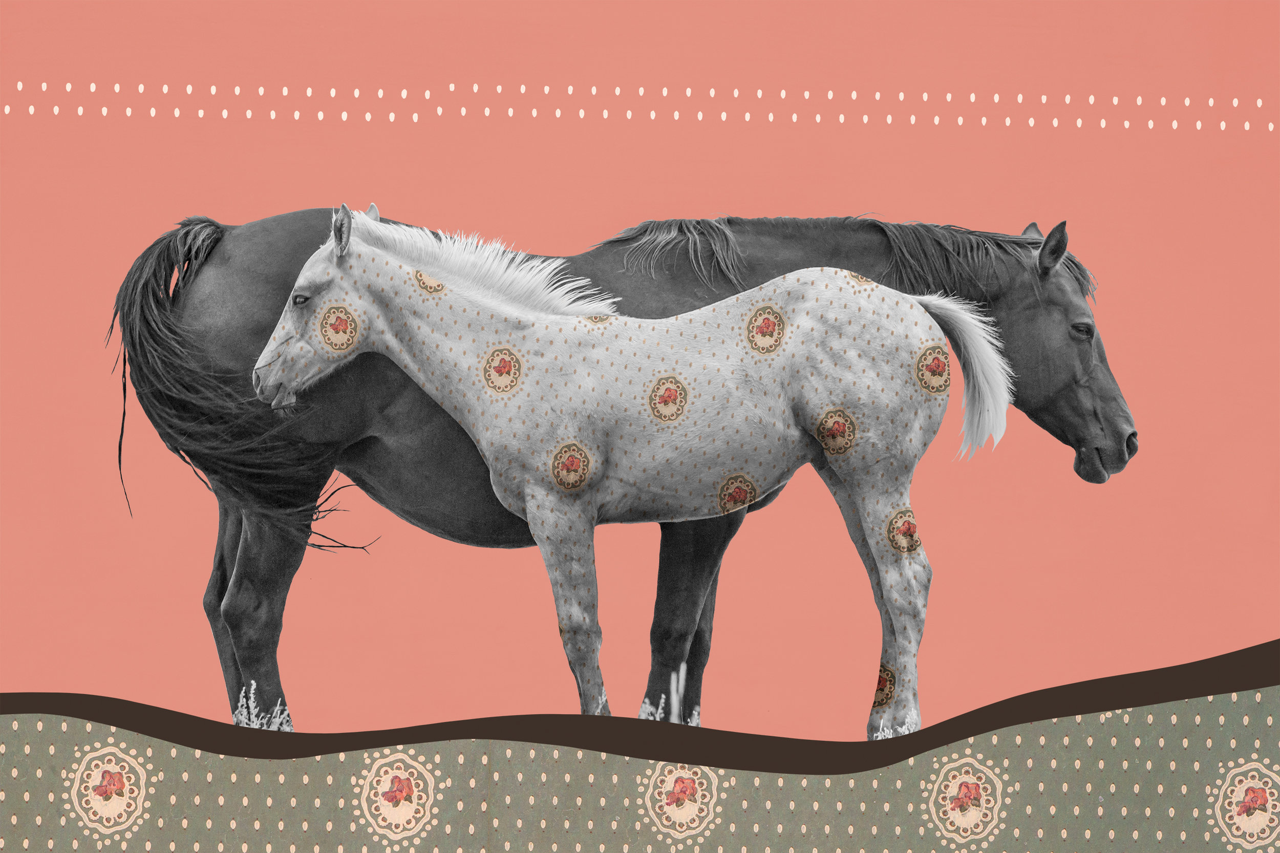 """{ Horse No. 28 }  I photographed this mare and her filly on a ranch in Montana's aptly-named Paradise Valley. I photographed this vintage wallpaper in the Virginian Hotel in Medicine Bow, Wyoming. Now listed on the National Historic Register, The Virginian was completed in 1911 and boasts over 30 guest rooms within its three and a half stories. The building was at the time the largest structure between Denver and Salt Lake City and was built of concrete blocks containing sand drawn from the Medicine Bow River. It was named after the famous 1902 novel, also titled """"The Virginian"""", which was set in Medicine Bow and is credited as being the first Western adventure novel, paving the way for the revered genre which still flourishes today. This wallpaper is original to the early 1900s and the hotel itself has changed little since then. It still serves as a restaurant, watering hole, and gathering hub for locals and a unique place to stay for those traveling through Wyoming's wide and vast Carbon County."""