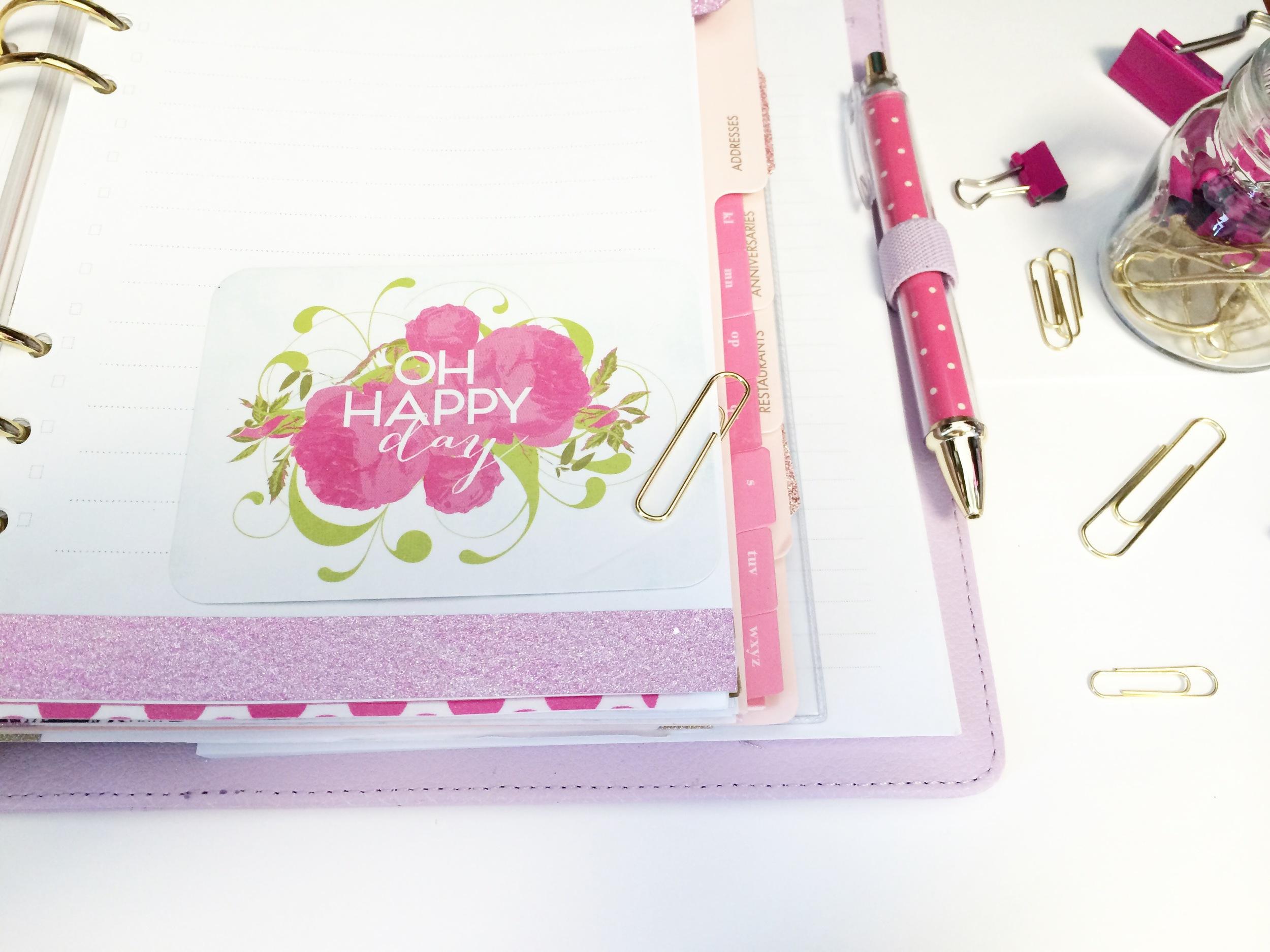 Project Life. Pink Filofax. Lilac KIKKIK. Planner. PINK. GLITTER.